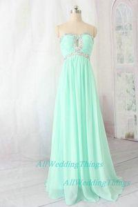 Long green mint prom dress strapless on Etsy, $142.00... I ...