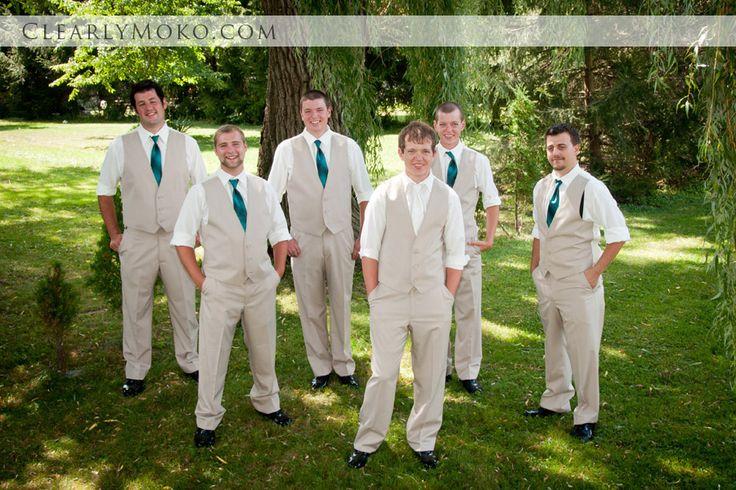 Groom and Groomsmen Teal tie khaki vest suits Country wedding  Wedding groomsmen  Pinterest