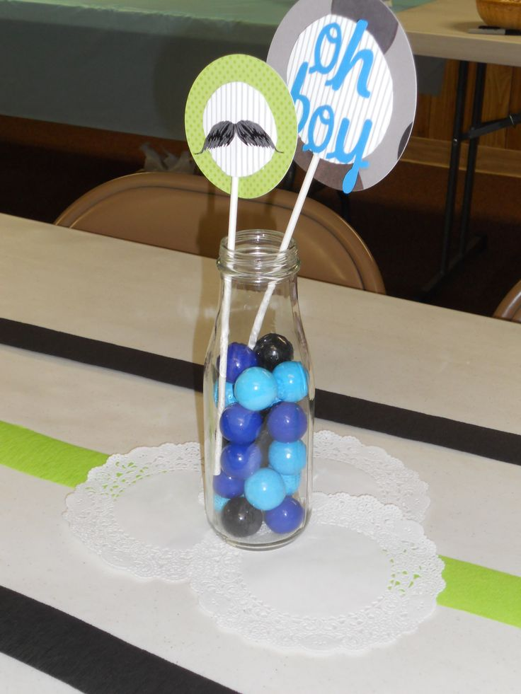 """Centerpieces At A """"little Man"""" Themed Baby Shower Baby"""