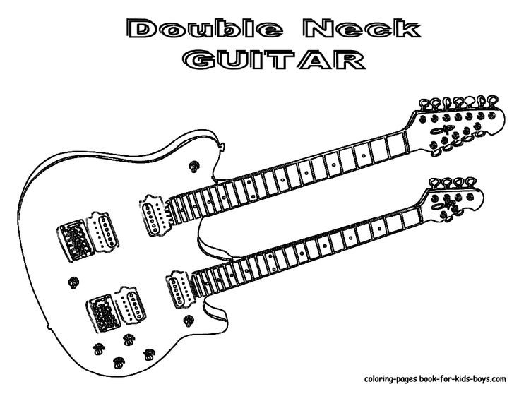 Double Neck Guitar Coloring Page You don't see too many