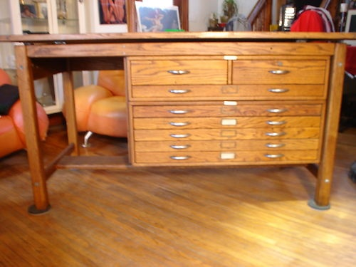 Vintage Industrial Oak Mayline Drafting Table w Blueprint