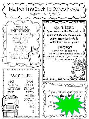1000+ ideas about Kindergarten Newsletter on Pinterest