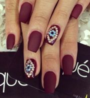 evil eye matte dark red nails