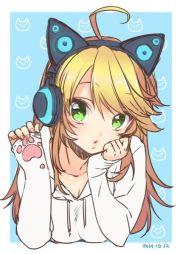 1girl ahoge animal ears axent wear