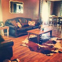 Cowhide rug, brown leather couch | home space | Pinterest ...
