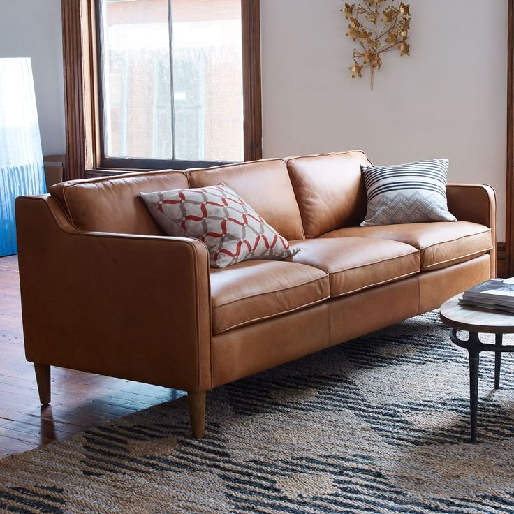 west elm hamilton leather sofa tan velvet sectional with chaise | family room pinterest ...