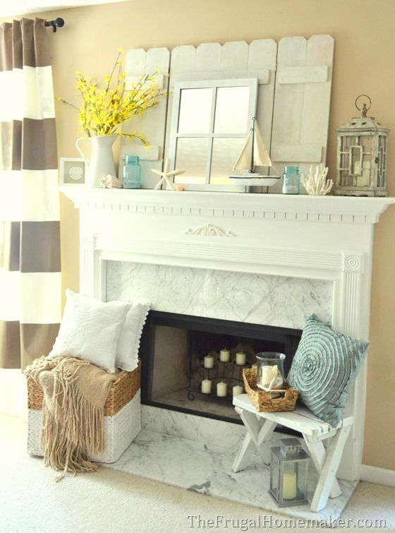 Cottage or Coastal themed mantel  Home Ideas  Pinterest  The white Love the and Tile