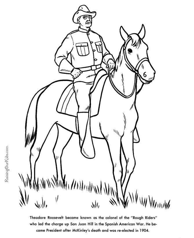 Free printable President Theodore Roosevelt facts and