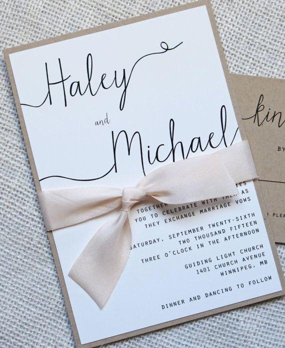 Modern Wedding Invitation Simple Wedding by LoveofCreating on Etsy