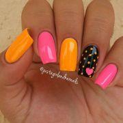 super cute pink and orange nail