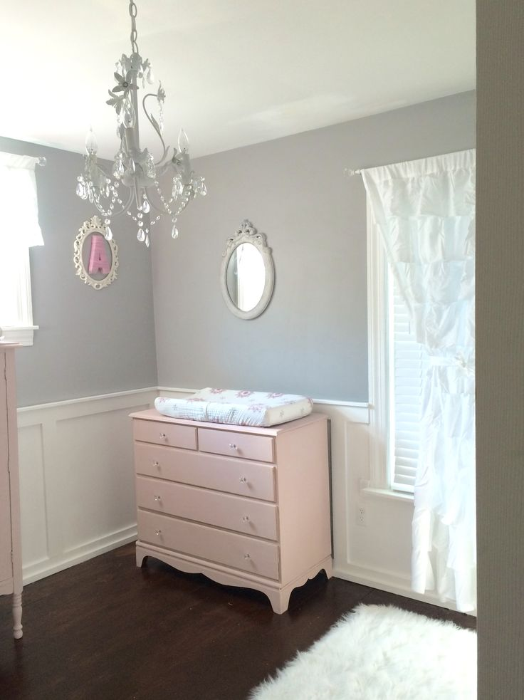 Shabby chic nursery pink gray Annie Sloan chalk paint
