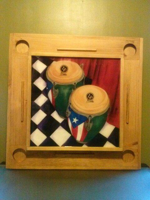 Mesa de domino congas con bandera de Puerto Rico by Lu