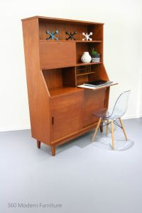 Mid Century Sideboard Cocktail Bar Cabinet Desk All-In-One ...