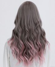 muted brown with pink tips. hair