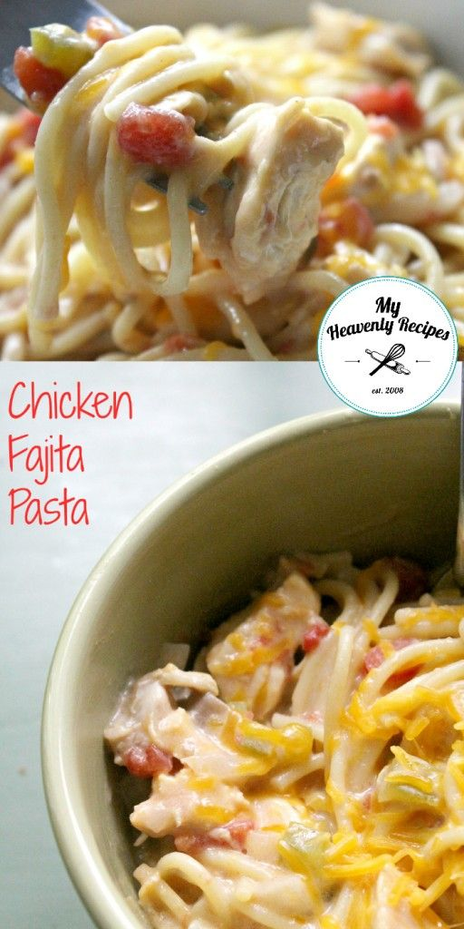 Chicken Fajita Pasta Crock Pot Recipe – A quick & easy week night recipe. Dump all the ingredients in, let it cook in the