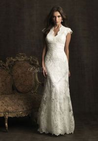 Lace wedding dress with short sleeves and buttons all down ...