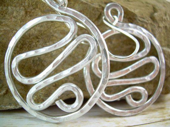 Large Funky Earrings Hammered Earrings Hammered Aluminum