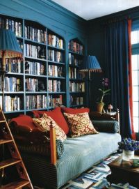 Peacock blue library with daybed - Connie Beale - House ...