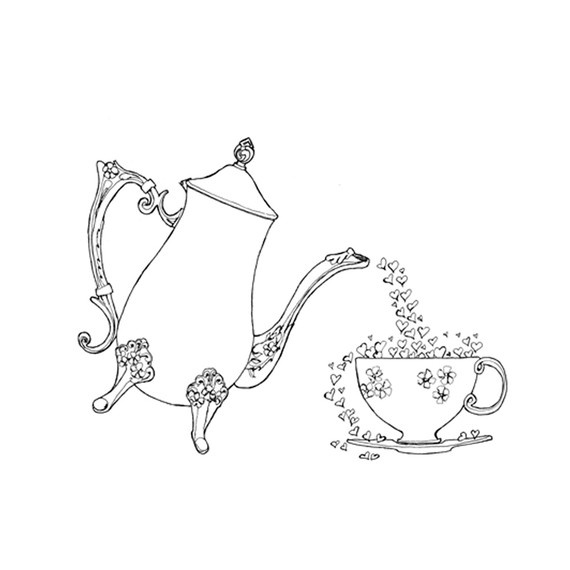 Teapots And Teacups Colouring Pages