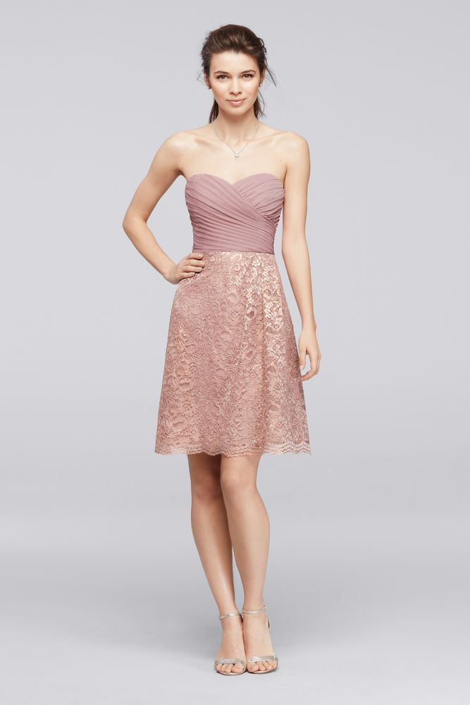 Short Metallic Lace Bridesmaid Dress with Pleating