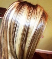 Chunky chocolate lowlites and blonde highlights. Hair ...
