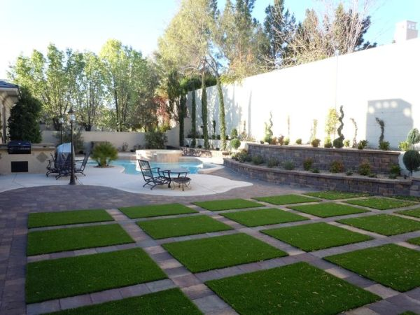 artificial grass and pavers