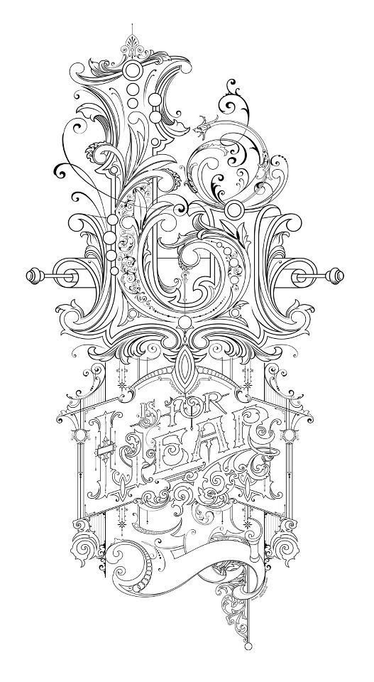 L is for Lear: Pencil sketch by David Smith as a design