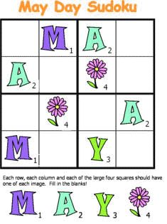 Free May Day Sudoku From DLTKs Crafts For Kids Free