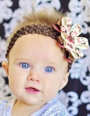 cream and brown baby bow.lovely