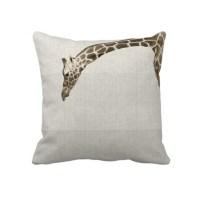 Giraffe on Linen Stripes Decorator Accent Pillow | Home ...