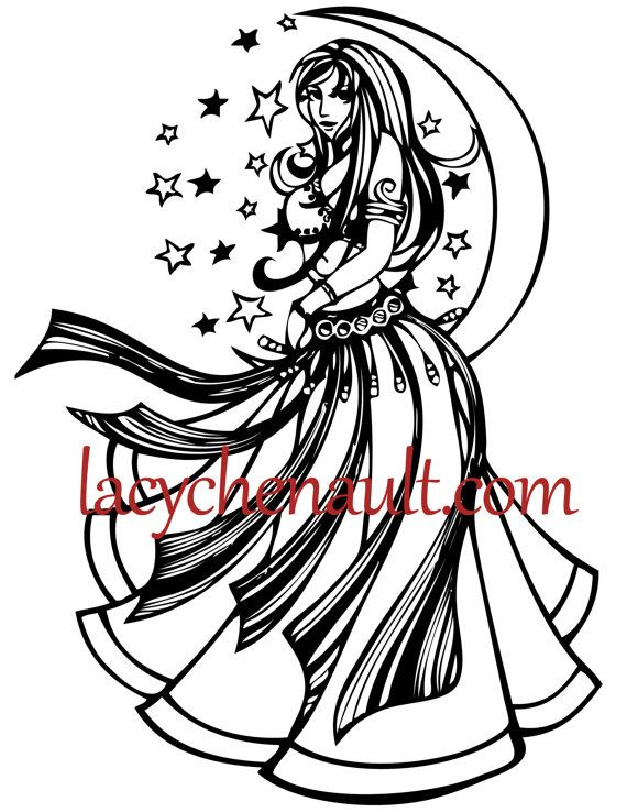 Violet Moon Goddess Coloring pages belly dance art adult