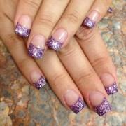 purple crystal gel acrylic nails