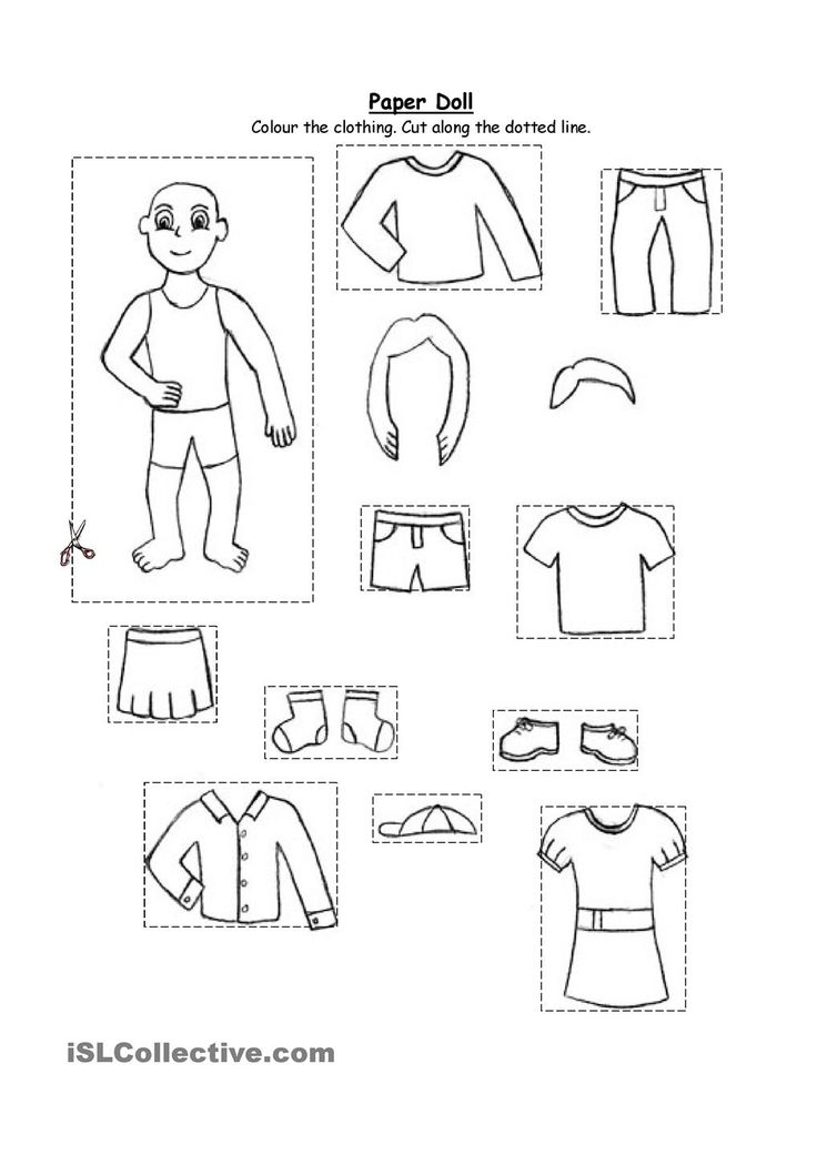 Paper doll- clothing (for kindergarten and 1st graders