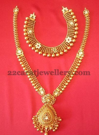 Jewellery Designs 20 Gms Necklace 40 Gms Long Set Tussi