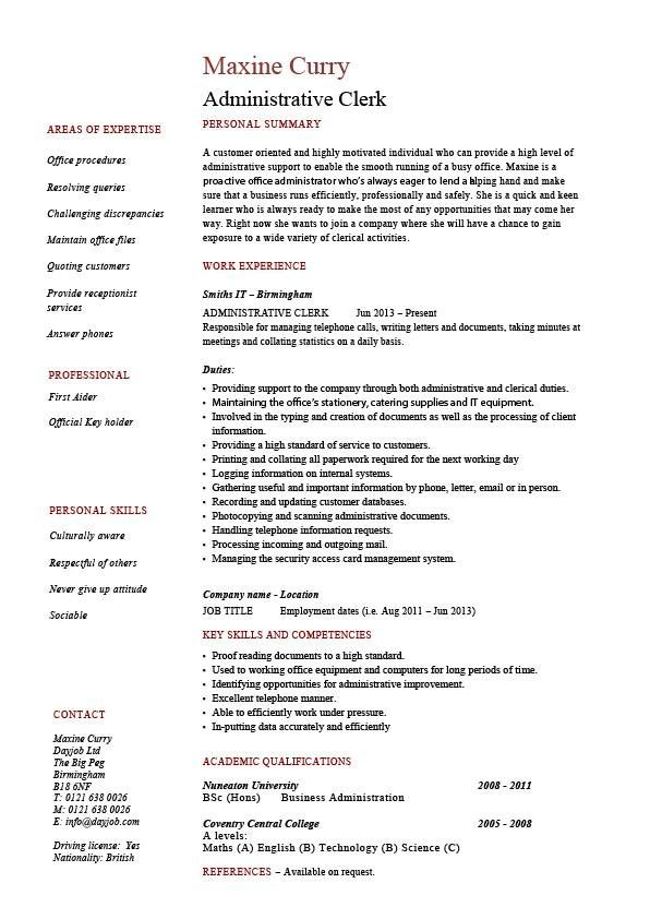 sample clerical duties resume
