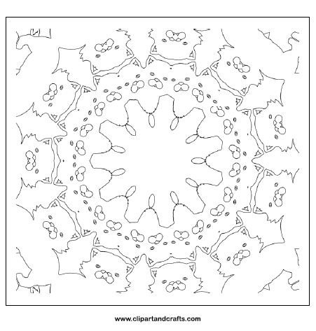 Cat mandala coloring page for teens or adult coloring, a