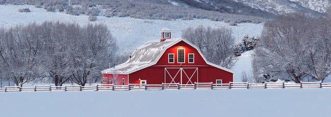 Barn Winter Scenes Panorama Of Idyllic Red Barn In A