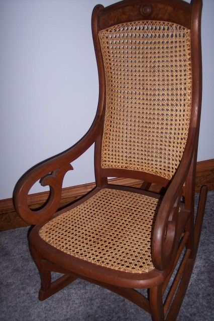 rocking chair cane french country style cushions collectibles-general (antiques): antique lincoln rocker with cane, caneing, dying art ...