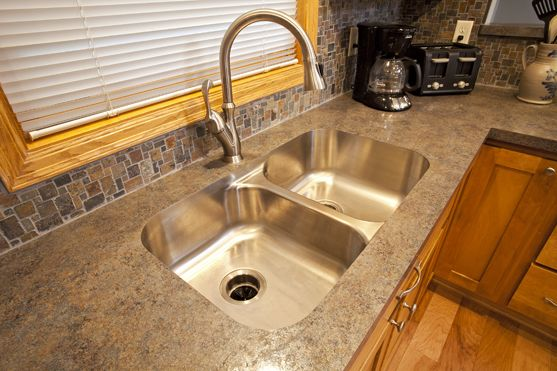 homedepot kitchen cabinets used under mount no reveal stainless double bowl sink with ...