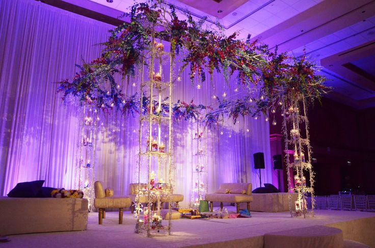 lawn chair with canopy mint green accent large grand mandap design hanging orchids and light purple room coloring. #ceremony # ...