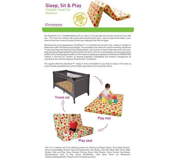 Clevamama 3 In 1 Sleep Sit And Play Travel Cot Mattress At Argos