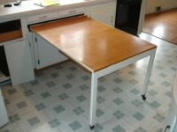 Great space saving idea. the built-in kitchen table shown ...