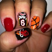 miami heat- sports nail design