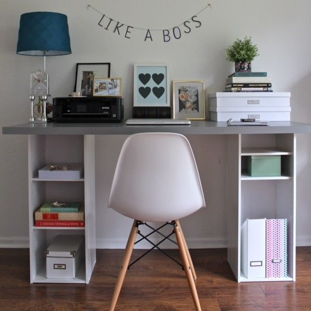 15 IKEA Hacks to DIY Your Apartment Into Adulthood: Shelves become an affordable desk: