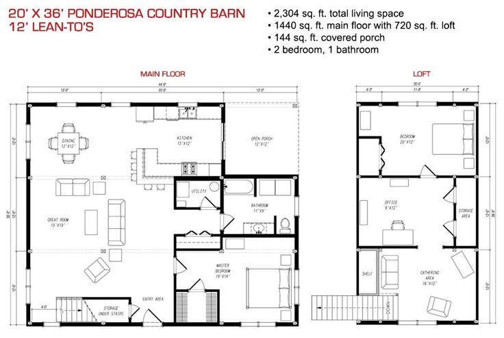 floor plan pre-designed ponderosa country barn home kit