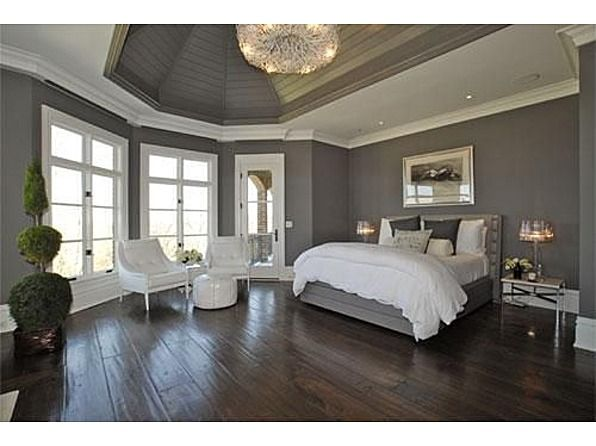 white and grey with the dark wood floor OoooMansion