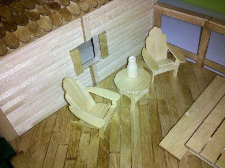 800 Popsicle Stick Bird House w Mini Adirondack Furniture