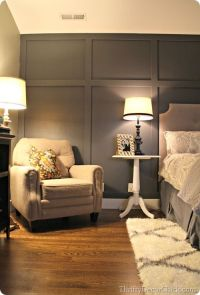 Dark gray accent wall, board and batten look