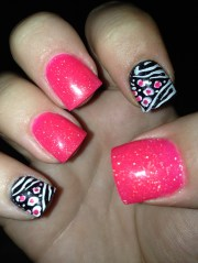 acrylic nails hot pink and zebra