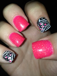 Acrylic Nails! Hot Pink And Zebra(: | Nails/designs ...